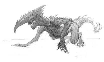Beast-alien sketch 2 by Skerkrou