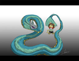 Cel-Leviathen and Neko by LluhnarDragon