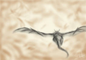 Dragon in Flight by LluhnarDragon