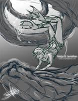 Sketch: Naija and Leviathen by LluhnarDragon