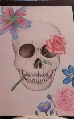 skull with flowers by lonelywolf1999