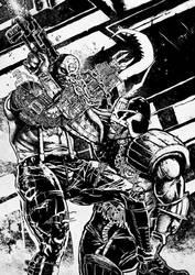 Judge Dredd vs Mean Machine by pumsmajer