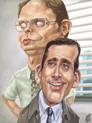 Dwight, Michael by ARTOONATOR