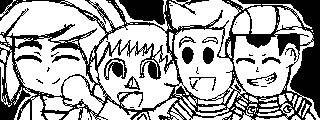 Toon Link, Villager, Lucas and Ness by WhiteRose1994