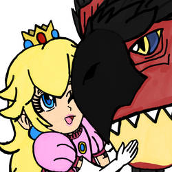 Peach and Rathalos by WhiteRose1994