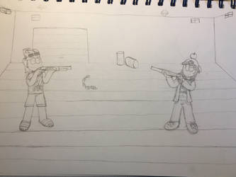 Cutter and T.V. playing with guns by GrungeVanHollow
