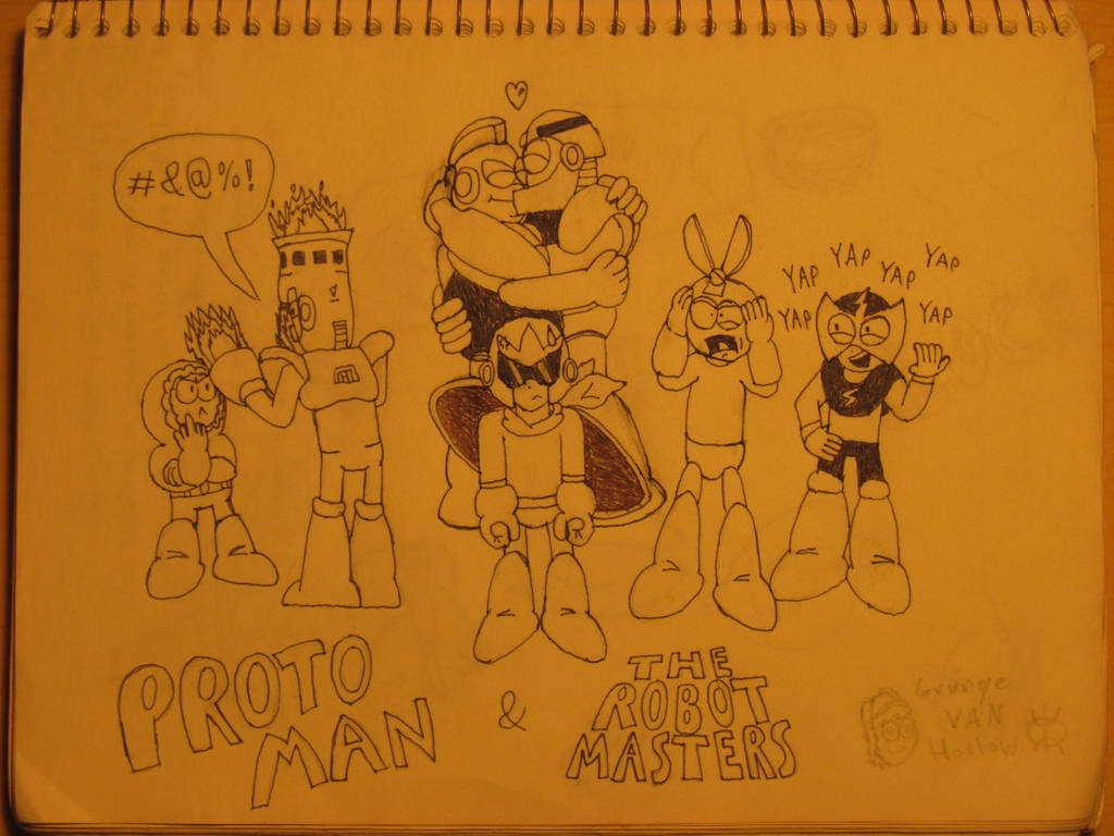 Proto Man and The Robot Masters by GrungeVanHollow