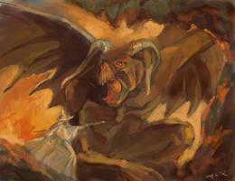 LOTR: Gendalf and balrog by Unita-N