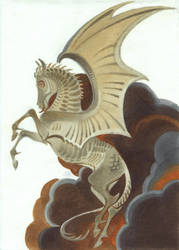 Inktober 03 Dragonhorse + speedpaint by Unita-N