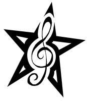 Treble Clef Star Tattoo by Dumaii