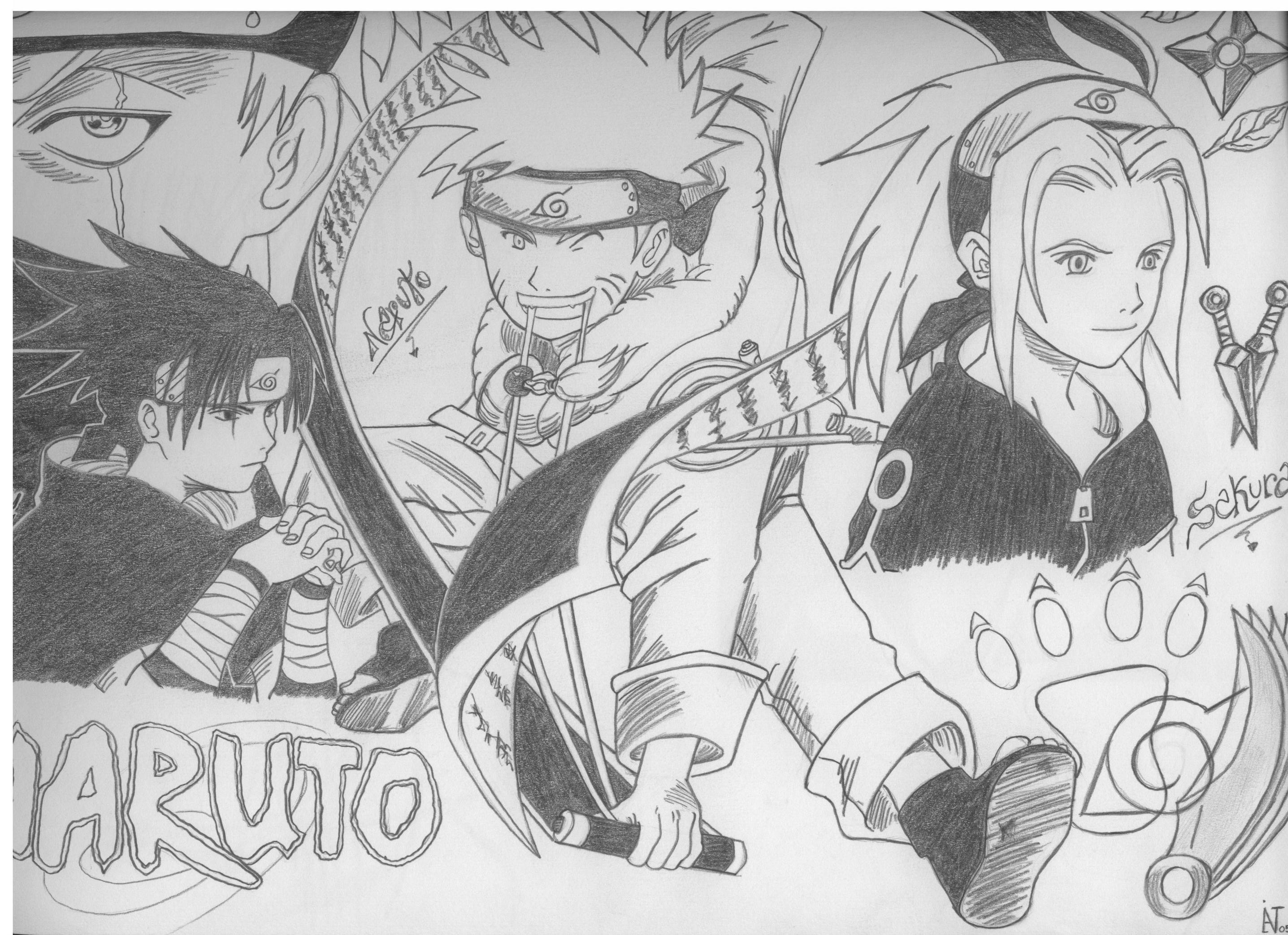 Naruto Sasuke Sakura Kakashi Drawing
