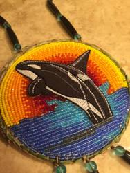 Beaded orca medallion by CraftyCrawford1