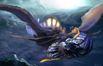 techno organic flying lizard by htkpeh
