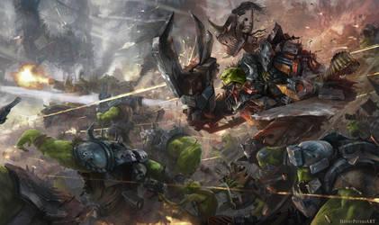 Waaaaagh---a-raging-ork-horde by htkpeh