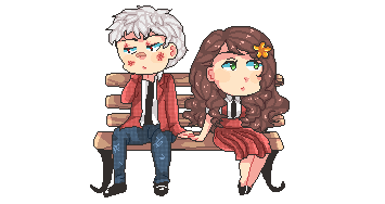 Prussia and Hungary,sitting on a bench.. by Rodikaa