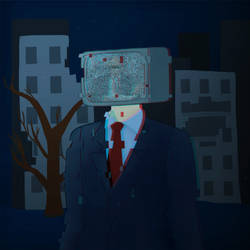 TV-head man in a suit by KatyaKust