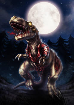 zombie thriller dinosaur by estivador