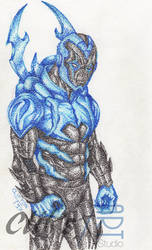 Blue Beetle in Pointillism by clifthammavongsa