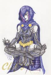 Raven in Pointillism by clifthammavongsa