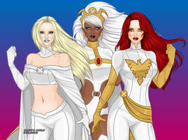Team White! Jean Grey Storm Emma Frost by marvelboy1974