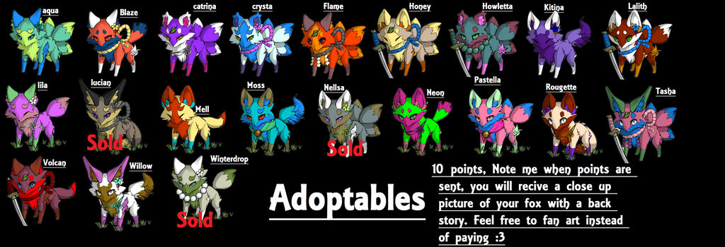 Mega fox Adopts  - 10 points and free- by Hack-Girl