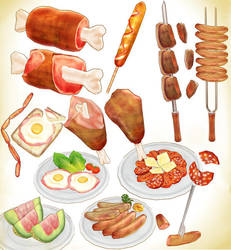 Summer BBQ meat set Download MMD by Hack-Girl