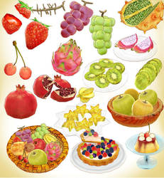 Random popular fruits and cake pack MMD Download by Hack-Girl