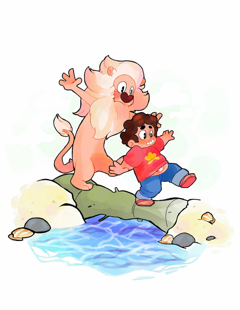 steven and lion have always reminded me of calvin and hobbes, so for fanime i decided to do a print along those lines. uvu really happy with it!