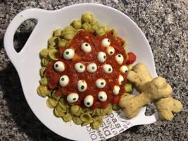 Eyeball Pasta with Bone Biscuits by Moonbeam13