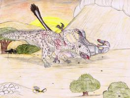 Battle of the Gobi Desert (Fighting dinosaurs). by Pappasaurus