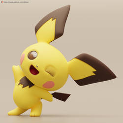 Winking Pichu by TheRealDJTHED