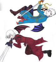 Dante and Vergil cuddling by Aureawolf