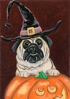Halloween Pug - ATC by spiraln