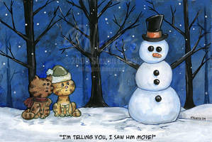 Cats and Snowman by spiraln