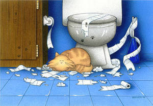 The Cat's In The Bathroom by spiraln