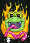 Happy Frog God ATC by spiraln