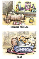 Cat Toons 3 - ATC by spiraln