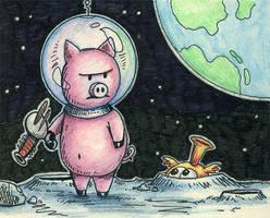 Space Pig Sketch by spiraln