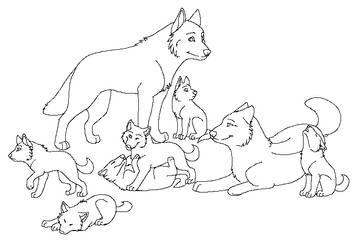 Free Wolf Pack Lineart by machinewolf2