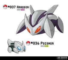 036 - 037: Poison Armor Fakemon by LeafyHeart