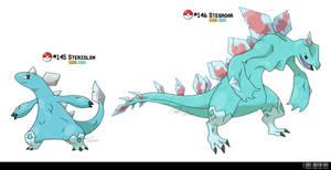 145 - 146: Stegosaurus Fakemon Fossil by LeafyHeart