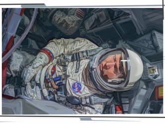 Astronaut Wally Schirra, and cramped Gemini craft by strib