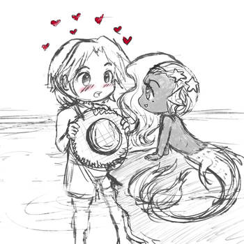 A Mer and Her Lifeguard by anobouzu