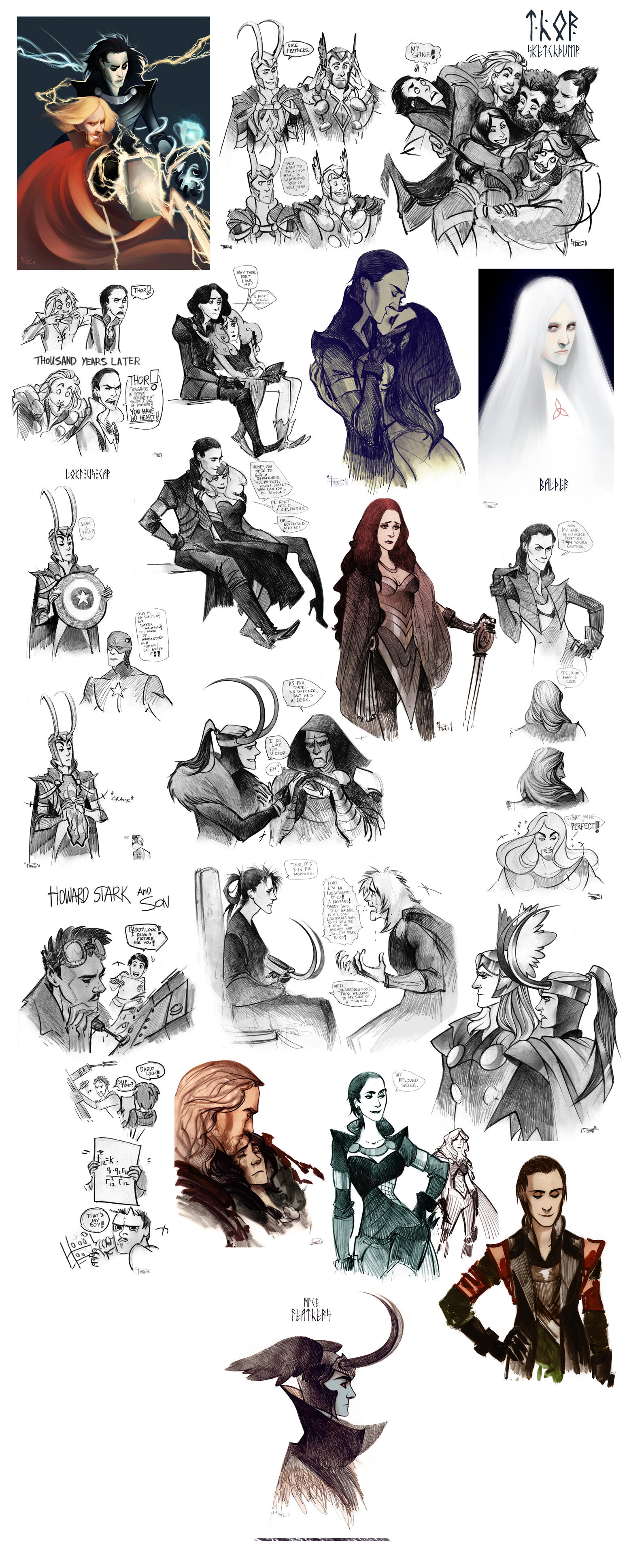 Thor sketchdump III by Phobs