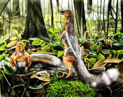 Dawn of jurassic jackal (Panguraptor) by reminegrest