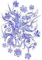 Blue Flowers 14 by Dessins-Fantastiques