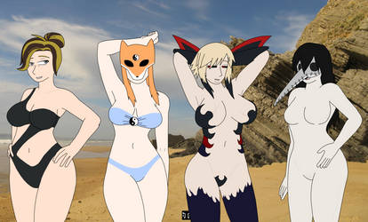 Girls at the Beach -Commission- by Space-between-spaces