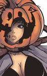 Halloween Art Girl Pumpkin by 7Zaki