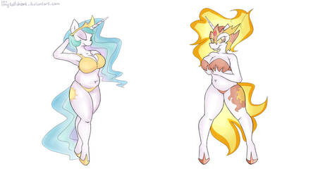 Princess Celestia and Daybreaker by longtailshort
