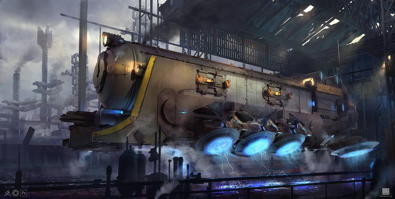 Titan steam hovertrain by Sickbrush